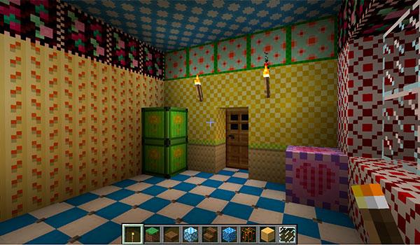 Imagen donde vemos a un jugador pintando y empapelando las paredes interiores de una vivienda en Minecraft, utilizando el mod Dooglamoo Painter 1.12, 1.12.1 y 1.12.2.