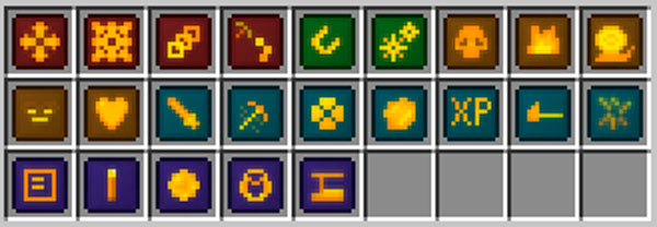Imagen donde podemos ver las veintitrés mejoras que podremos utilizar con el nuevo set de armas y herramientas que añade al juego el mod Flexible Tools 1.12, 1.12.1 y 1.12.2.