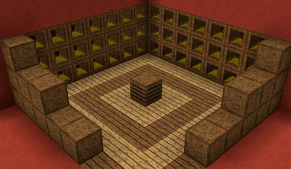 Imagen de ejemplo donde podemos ver el aspecto de un gallinero, utilizando los bloques y objetos del mod Roost Mod 1.12, 1.12.1 y 1.12.2.