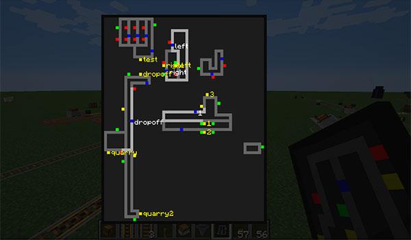 Imagen donde podemos ver un cuadro o esquema de un sistema ferroviario de ejemplo, gracias al mod Signals 1.12.2.