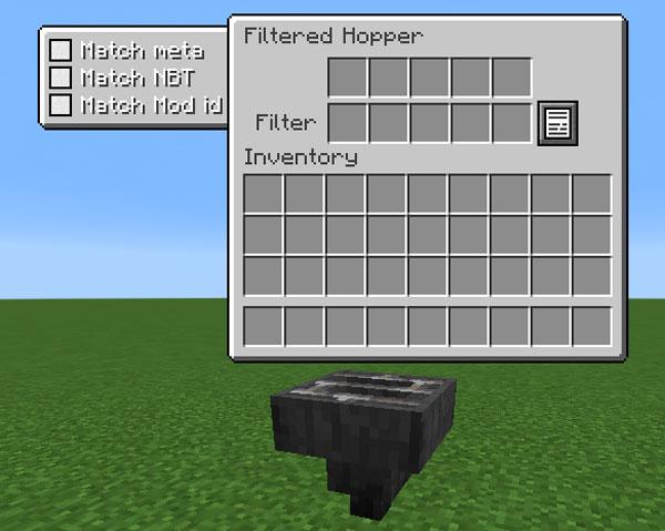 Imagen donde podemos ver uno de los objetos que podremos utilizar al instalar el mod Vanilla Automation 1.12, 1.12.1 y 1.12.2, un tolva con filtros.