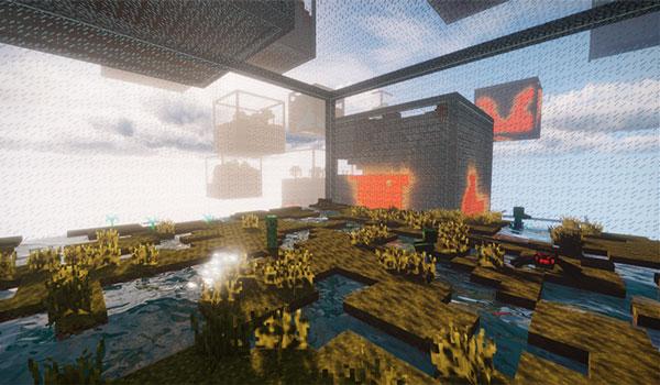 Imagen donde podemos ver el resto de cubos, generados por el mod Cube World Generator 1.12, 1.12.1 y 1.12.2, desde el interior de uno de los cubos.