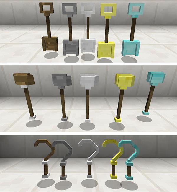 Imagen donde podemos ver otras herramientas añadidas por el mod Hammer Time 1.12.2, como son las palas, las azadas y