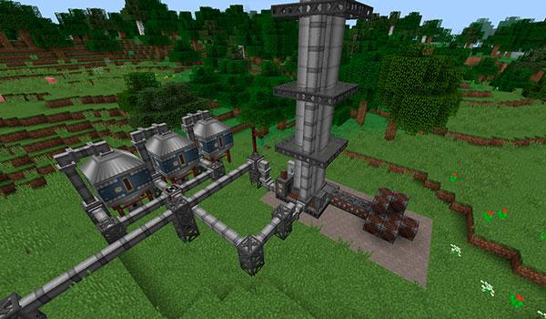 Imagen donde podemos ver una de las refinerías que podremos fabricar con el mod Immersive Petroleum 1.12, 1.12.1 y 1.12.2.