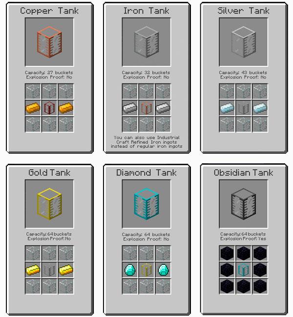 Imagen donde podemos ver los diversos tanques, y sus crafteos, que nos ofrece el mod Iron Tanks 1.12.2.