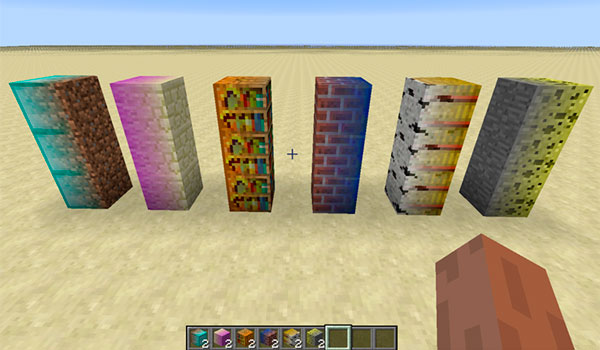 Imagen donde podemos como queda la mezcla de bloques decorativos que nos permite el mod MalisisBlocks 1.12, 1.12.1 y 1.12.2.