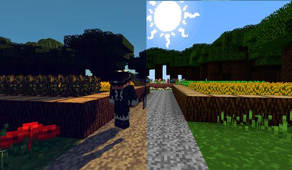 Imagen donde vemos a un personaje junto a dos huertos. Todo decorado con el pack de texturas PixaGraph para Minecraft 1.12 y 1.11.