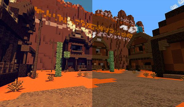 Imagen donde podemos ver un paisaje del bioma de Mesa utilizando las texturas del paquete de texturas PixaGraph 1.12 y 1.11.