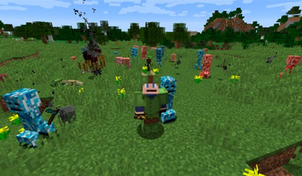 Imagen donde podemos ver a un jugador rodeado de algunas de las criaturas que añade el mod Primitive Mobs 1.12, 1.12.1 y 1.12.2.