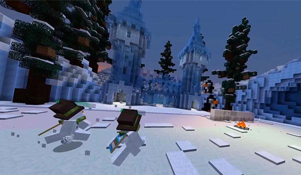 Imagen donde podemos ver dos jugadores, de un mismo equipo, intentando invadir el territorio de otro equipo, en el mapa Snowbound 1.12.2.