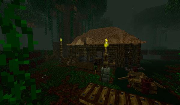 Imagen donde podemos ver una vivienda dentro de la peligrosa y misteriosa dimensión que añade el mod The Betweenlands 1.12.2.