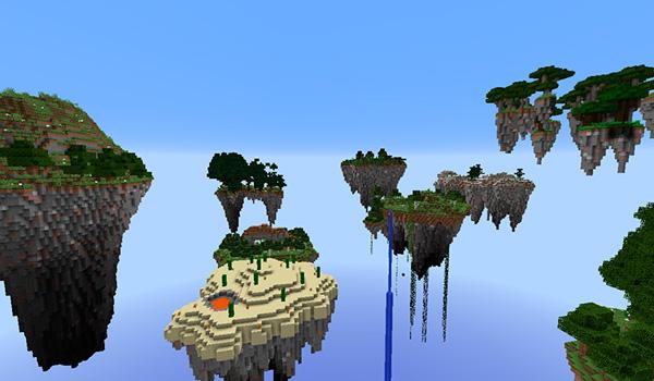 Imagen donde podemos ver el conjunto de islas flotantes que crea el mapa Waka Islands 1.12 y 1.11.