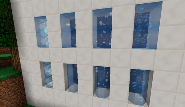 Imagen donde podemos ver el aspecto de los dos nuevos tipos de cristales y las cuatro animaciones de partículas que ofrece el mod xNicex 1.12, 1.12.1 y 1.12.2.