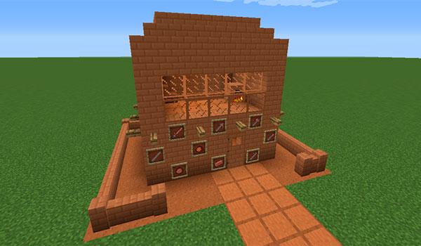 Imagen donde podemos ver una edificación realizada únicamente con los nuevos bloques decorativos que añade el mod Adobe Blocks 2 Mod 1.12, 1.12.1 y 1.12.2.