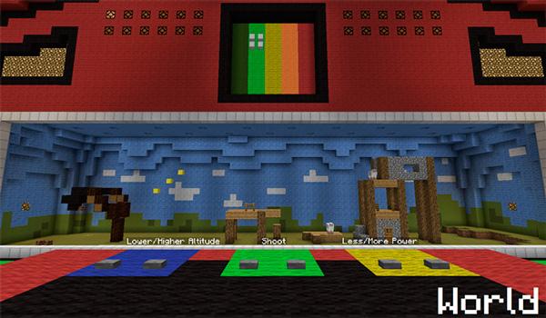 Imagen donde vemos el primer mundo o mapa que nos ofrece este minijuego/mapa de Minecraft, llamado Angry Rabbits 1.12 y 1.11.