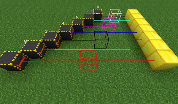 Imagen donde podemos ver en funcionamiento algunas de las guías de construcción que añade el mod Builder's Guides 1.12.1 y 1.12.2.