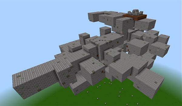 Imagen donde podemos ver un ejemplo de una de las mazmorras flotantes que nos podremos encontrar por el mundo al instalar el mod Dungeons 1.12 y 1.12.2.