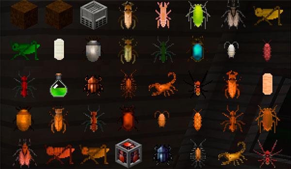 Imagen donde podemos ver todos los objetos e insectos que añade el mod Edible Bugs 1.12, 1.12.1 y 1.12.2 al juego.