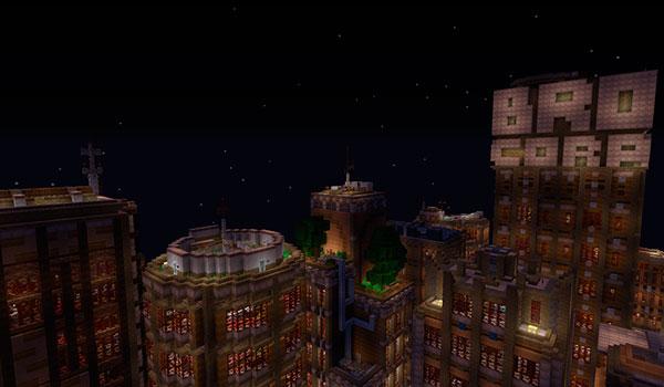 Imagen donde podemos ver una ciudad, creada con los bloques de construcción del paquete de texturas Eternal Hearts 1.12 y 1.11.