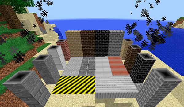 imagen donde podemos ver los bloques decorativos que añade el mod Factory Tech 1.12, 1.12.1 y 1.12.2, para dar un toque industrial a nuestras fábricas.