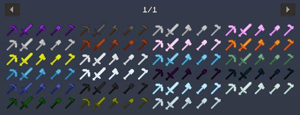 Imagen donde podemos ver todos los nuevos conjuntos de armas y herramientas que podremos crear con el mod Hardcore Tools 1.12, 1.12.1 y 1.12.2.