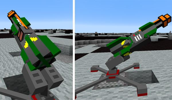 Imagen donde podemos ver una plataforma de lanzamiento de misiles básica, añadida por el mod ICBM 1.12.2.