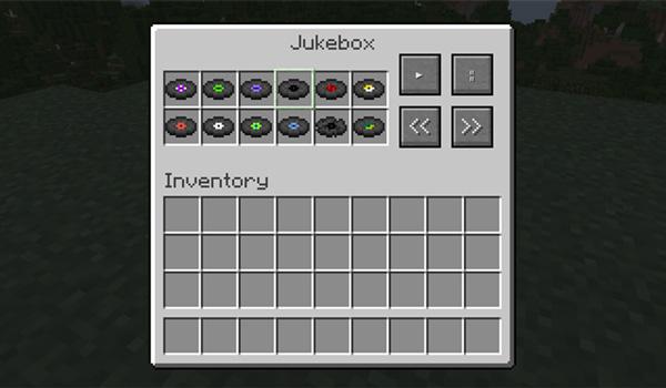 Imagen donde podemos ver la interfaz de gestión de discos musicales que agrega el mod Jukebox 1.12, 1.12.1 y 1.12.2.