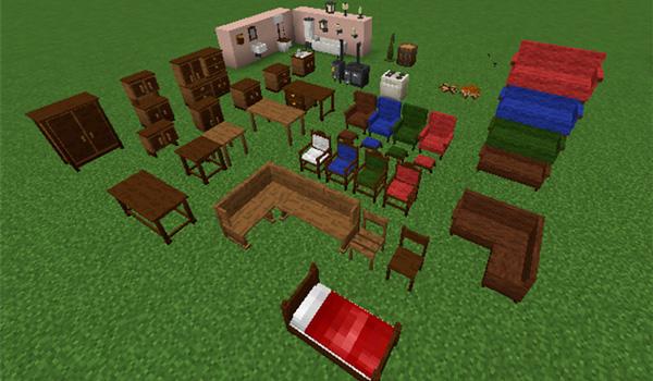 Imagen donde podemos ver una exposición de todos los muebles y elementos decorativos que podremos crear con el mod Landlust Furniture 1.12.2.