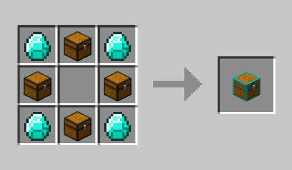 Imagen donde podemos ver la receta necesaria para poder fabricar el nuevo tipo de cofre que añade el mod Multi Page Chest 1.12, 1.12.1 y 1.12.2.