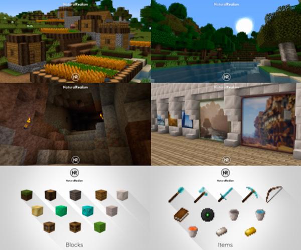 Imagen donde podemos ver un poblado, una cueva, un paisaje y el interior de un edificio, todo ello decorado con las texturas que nos ofrece el paquete Natural Realism 1.14 y 1.12.