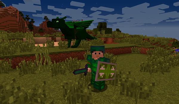 Imagen donde podemos ver a un jugador, equipado con un nuevo set de armadura y una espada, junto a su dragón del mod Realm of The Dragons 1.12, 1.12.1 y 1.12.2.