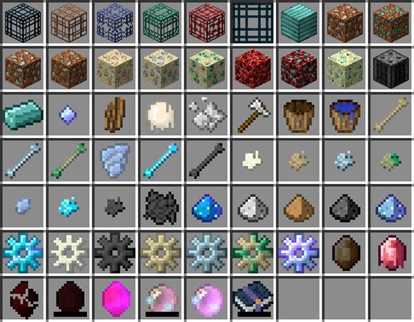 Imagen donde podemos ver todos los nuevos bloques y objetos que añade al juego el mod Soulus 1.12.2.