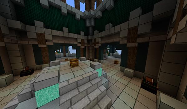 Imagen donde podemos ver el interior de un edificio, decorado con las texturas de Velvet Dreams Texture Pack 1.14 y 1.12.