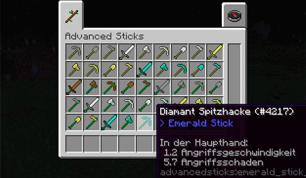 Imagen donde podemos ver todas las armas y herramientas que podremos crear con las barras que añade el mod Advanced Sticks 1.12, 1.12.1 y 1.12.2.