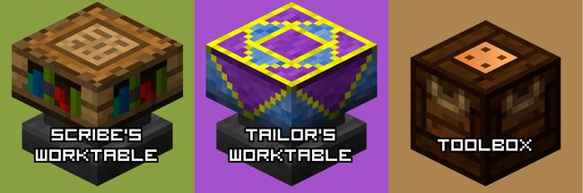 Imagen donde podemos ver algunas de las nuevas mesas de trabajo que nos ofrece el mod Artisan Worktables 1.12.2.