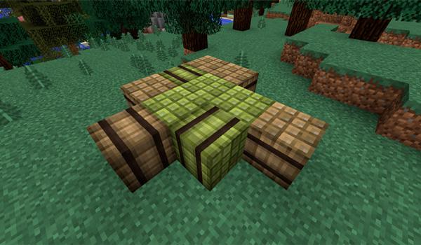 Imagen donde podemos ver los manojos de bambú, que añade el mod Bamboozled 1.12, 1.12.1 y 1.12.2, secándonse al Sol para poder elaborar cosas con este material.