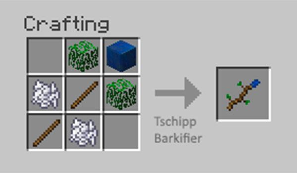 Imagen donde vemos el único objeto que añade el mod Barkifier 1.12.2, que permite que las seis caras de un bloque de madera tengan la textura de la corteza del árbol.