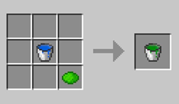 Imagen donde podemos ver el proceso de creación del agua de colores que permite crear el mod Colorful Water 1.12.2.