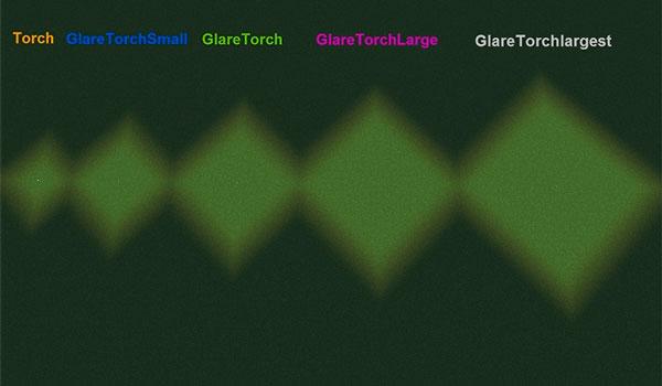 Imagen donde podemos ver una comparativa del rango de iluminación de las antorchas que ofrece el mod Glare Torch 1.12, 1.12.1 y 1.12.2, frente a la antorcha predefinida en el juego.
