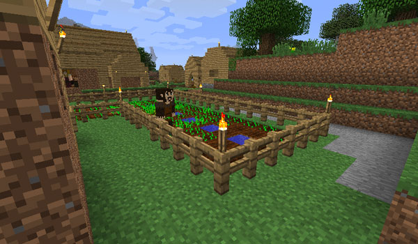 Imagen donde vemos a un agricultor, del mod Millenaire 1.12.2, cuidando el huerto de su propiedad.
