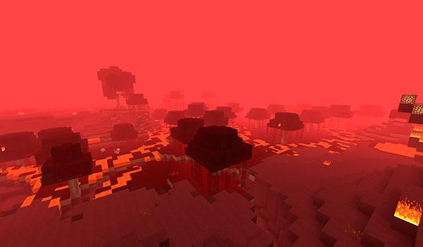Imagen donde vemos el bioma de pantano dentro de la nueva dimensión del Nether que añade el mod Nether Overload 1.12.2.