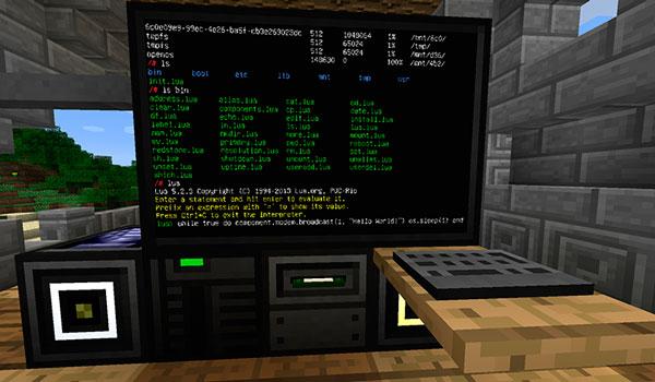 Imagen donde podemos ver en acción uno de los ordenadores que podremos crear con el mod OpenComputers 1.12, 1.12.1 y 1.12.2.