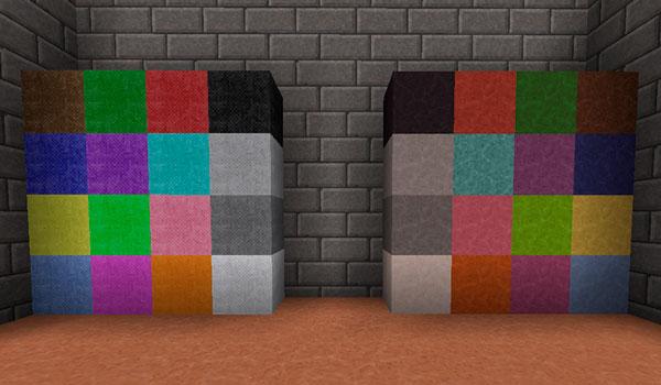 Imagen donde podemos ver cómo serán los bloques de arcilla de colores, tras instalar el Polychromata Texture 1.12 y 1.11.