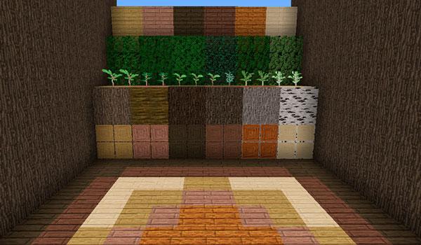 Imagen donde podemos ver el aspecto que tendrán los bloques de madera y los arbustos, con el paquete de texturas Polychromata 1.12 y 1.11.