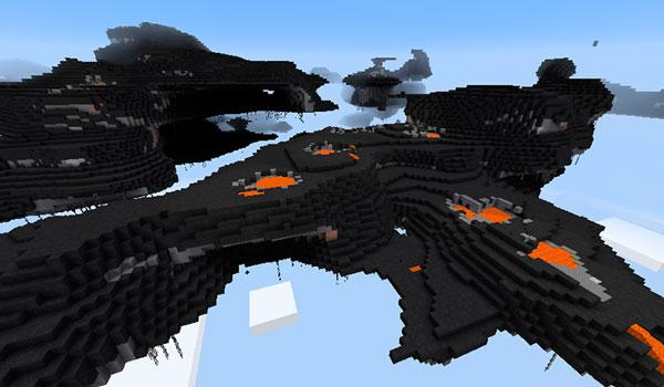 Imagen donde podemos una de las islas que se generan en el mod Sky Islands 1.12.2. En este caso, la isla, se genera con uno de los biomas del mod Biomes O' Plenty.