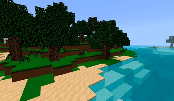 Imagen donde podemos ver el aspecto de una playa con el paquete de texturas Storyblock 1.12 y 1.11.