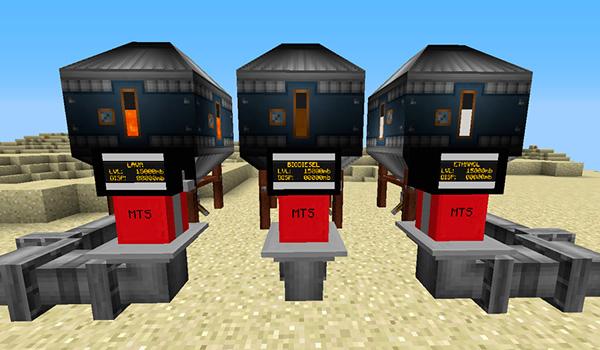 Imagen donde podemos ver tres tanques que contienen, lava , etanol y biodiésel, que servirán como combustible para los vehículos del mod Transport Simulator 1.12.2,