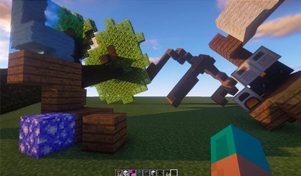 Imagen donde podemos ver como las nuevas físicas afectan a los objetos dirigibles que podemos manejar con el mod Valkyrien Warfare 1.12.2.
