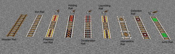 Imagen donde podemos ver los nueve tipos de vías o rieles que añade el mod Better Railroads 1.12.2.