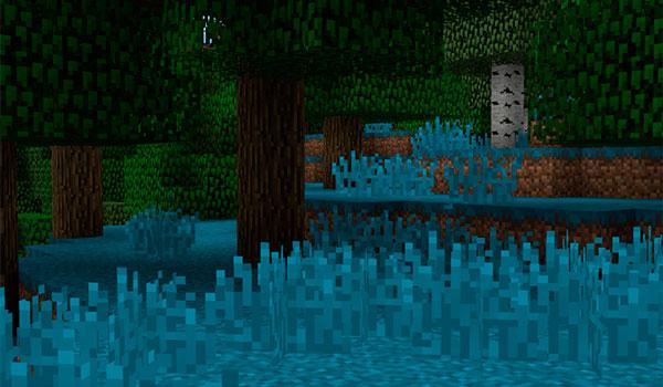 Imagen donde podemos ver un paisaje, con el pasto de color azulado, gracias a las funciones del mod Chromatic Foliage 1.12, 1.12.1 y 1.12.2.